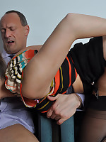 Paige takes this mature gentlemans cock deep inside that slutty little mouth of hers.