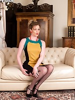 Check out Holly in her red sexy lingerie and black vintage Vietel brand nylons!