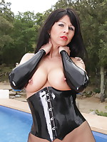 Black corset wrapped around Desyra Noir