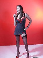 Nylon Jane shows off her long legs and sexy nylon stockings.
