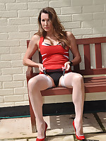 Nylon Jane is looking gorgeous in her red and white outfit.