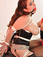 Tie nylon covered sluts get tied up and have ball gags put in their gorgeous mouths.